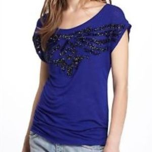 Anthropologie Ric Rac beaded blue blouse